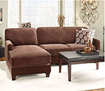 Stretch Pique Two Piece with Left Side Chaise Sectional Slipcover