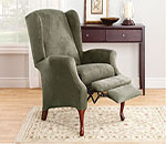 SureFit Stretch Suede Wing Recliner Slipcover